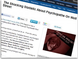TheShareholderActivist.com Blogger Featured in CFA Magazine Piece on Financial Psychopaths
