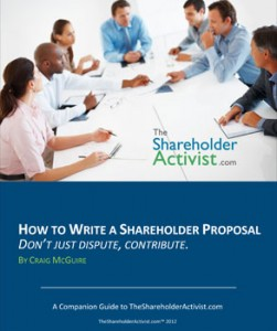 The Shareholder Activist How To Write A Shareholder Proposal